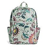 Vera Bradley Lighten Up Grand Backpack, Polyester, Mint Flowers
