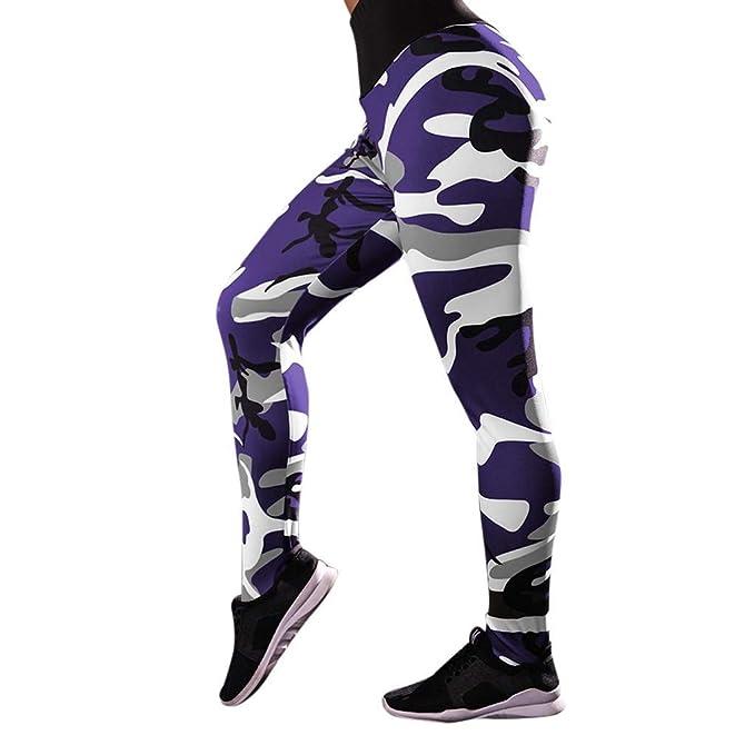 SHOBDW Pantalones Mujer Camuflaje Informal Imprimir Estampado Fresco Cintura Alta Leggings Elásticos Fitness Deportes Gimnasio Mallas para Correr ...
