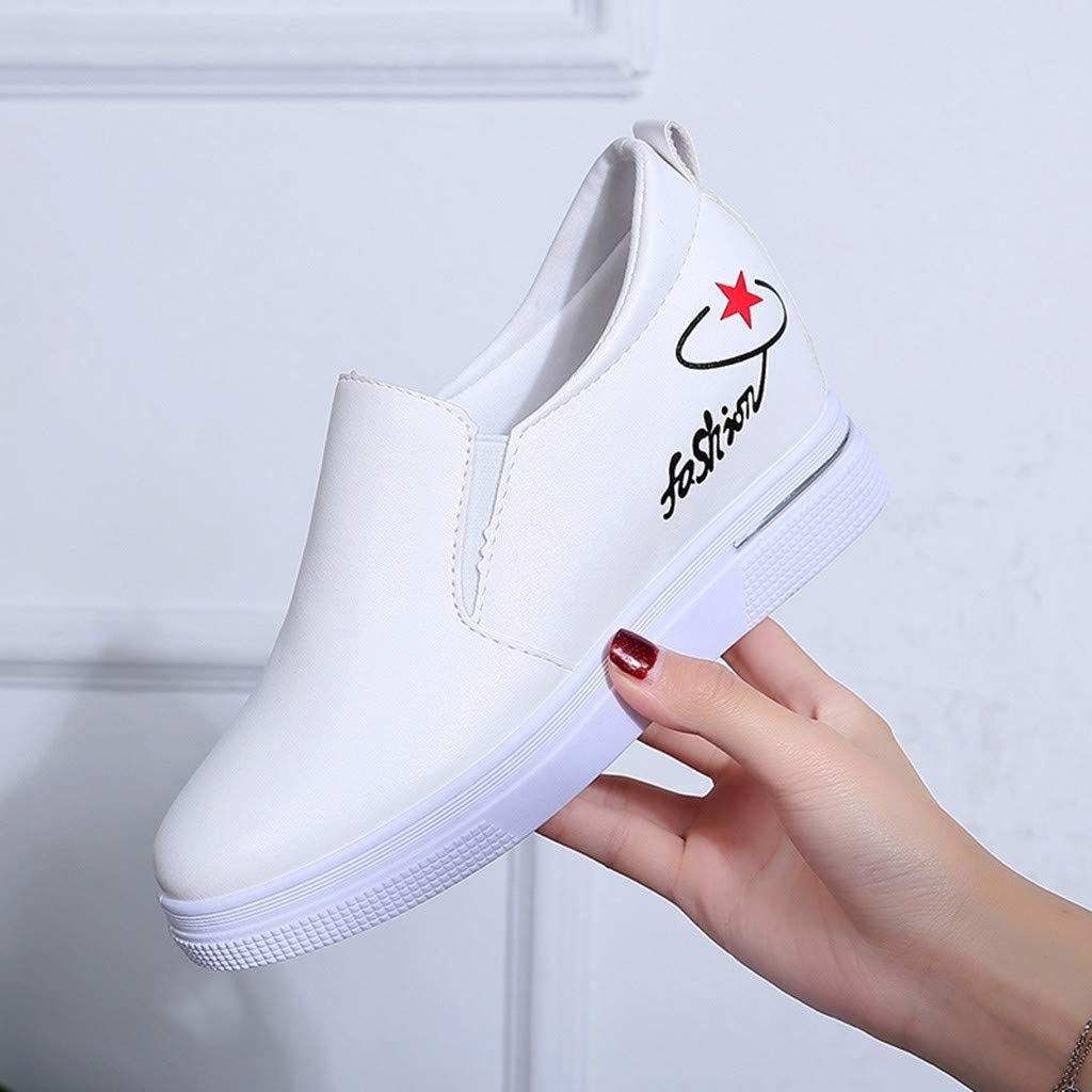 2019 New Women's Shoes, Claystyle Pu Solid Color Straps Casual Sports Shoes Thick Bottom Invisible Heightening Shoes White by Claystyle Shoes (Image #4)
