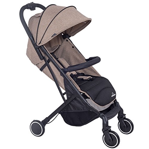 MD Group Travel Stroller Foldable Lightweight Steel Frame & 300D Fabric Coffe Color by MD Group