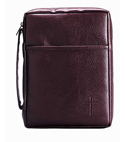 Leather Look Bible Cover (Burgundy Embossed Cross with Front Pocket Small Leather Look Bible Cover with Handle)