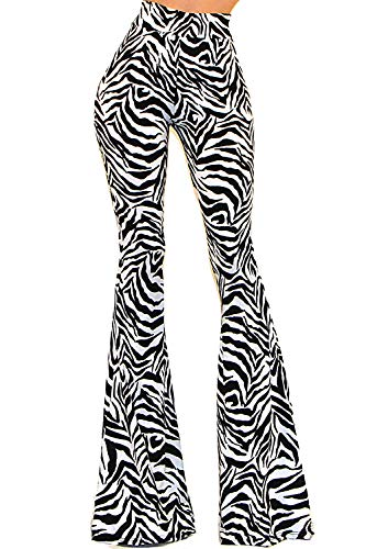 Vivicastle Women's Boho Solid Hippie Wide Leg Flared Bell Bottom Pants (C31, Zebra, Small)