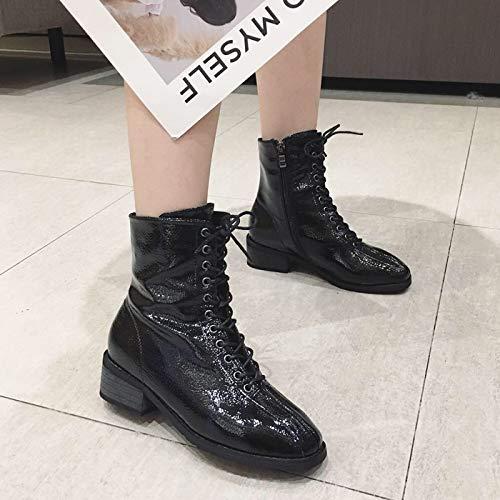HBDLH Damenschuhe Slim - Stiefel Heel 3Cm Winter Martin Stiefel Kopf Soft Lackierung Flachen Boden Am Kopf Stiefel Dicke Sohle Kurze Stiefel 7763d8