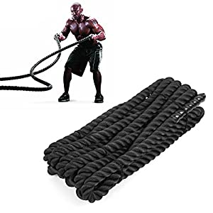 """FEMOR 1.5"""" Poly Dacron 30ft Battle Rope Exercise Undulation Ropes for Fitness Training, Best Workout Equipment for Total Body Exercise to improve Cardio, Strength & Power"""
