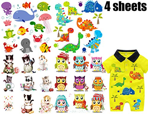 Baby Iron On Patch Heat Transfer Jurassic Dinosaurs Ocean Theme Party Supplies Miami Dolphins Cat Patches with Lovely Cartoon Animal Christmas Costume Applique Design for DIY Decoration Kid's Clothes