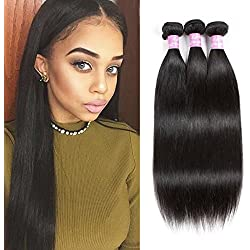 LMY Hair 7A Brazilian Virgin Straight Hair 3Bundles Best Quality Human Hair Extensions Deals (12 14 16, Natural color)