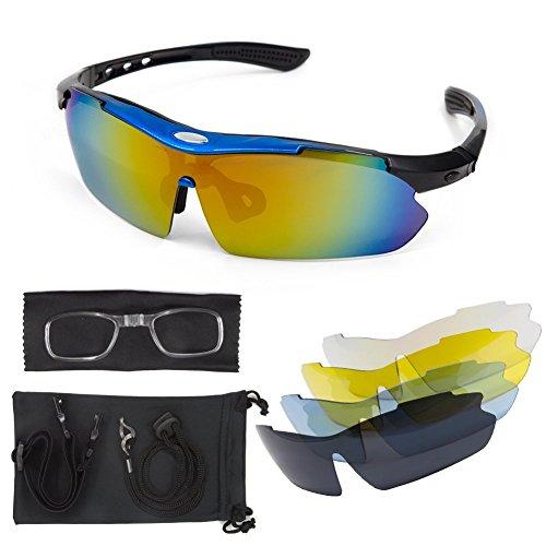 Polarized Sunglasses Sport Cycling Men - Women LT&PK For Fishing Golf Driving Riding Baseball Goggles UV Protection TR90 Frame Superlight 2017 New Design With 5 Interchangeable Lenses (black, - 2017 Sunglasses Fall