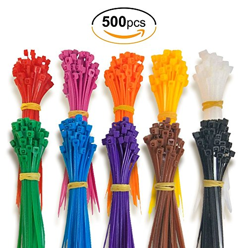 Moonkira Ties Cable Multi Colored lenitech Cable Zip Strap Ties Assorted Colors 4 Inch Wire Straps 500 Pieces