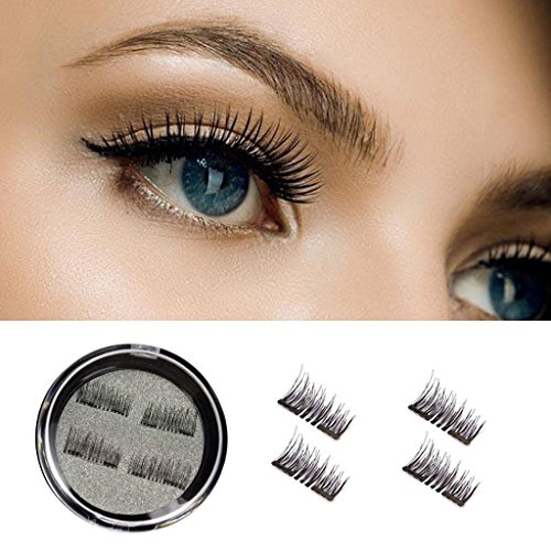 3D Magnetic False Eyelashes - Handmade Magnetic Eyelashes Dual Magnets Reusable Glue-free (1 Pair 4 Pieces) (Black)