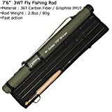 AnglerDream Archer Fly Fishing Rod 4 Section 3/4/5/8WT with Cordura Tube Graphite IM 10 / 36T Carbon Fiber Dark Green Fly Rod Review