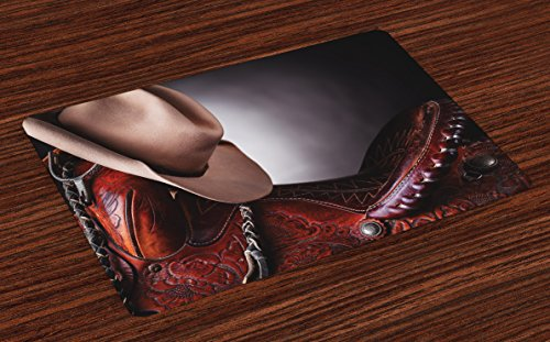 Ambesonne Western Place Mats Set of 4, Horse Saddle with a Cowboy Hat Wild Texas Fashion States Men Whip It Photography, Washable Fabric Placemats for Dining Room Kitchen Table Decor, -