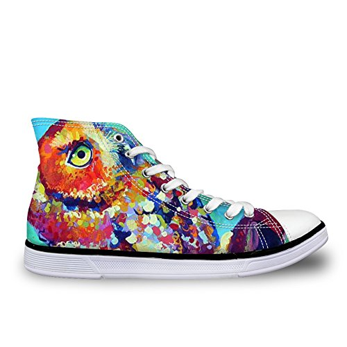 Casual DESIGNS up Wolf Men and Fashion Print Women Unisex Sneakers Shoes Horse U Eagle for High Lace Owl Animal Canvas Top FOR 5qXw67W
