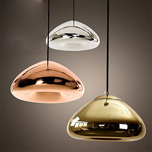 Round Glass Pendant Light Creative Tom Dixon Void Indoor Drop Lighting for Coffee/Clothing Store/Restaurant/Cafe bar,Coppery