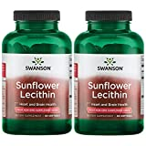 Swanson Sunflower Lecithin Non-GMO 1,200 mg 90 Sgels 2 Pack