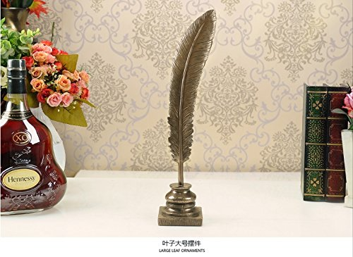 European cold bronze crafts feather shaped leaves ornaments 3 piece Home Furnishing porch Decor furnishings Size: for example zj0130139 by Supper PP