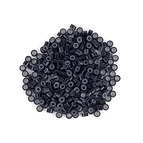 Anleolife 500pcs Beads Silicone Micro Link Tubes Rings 5mm Beads Lined for I Tip Microbeading Hair Extension Link Locks(black micro (Black Curly Locks Wig)