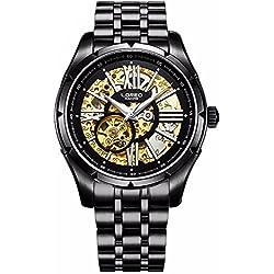 Mastop Fashion Men Skeleton Watch Automatic Mechanical Male UNique Watch Waterproof Luminous Watch Black