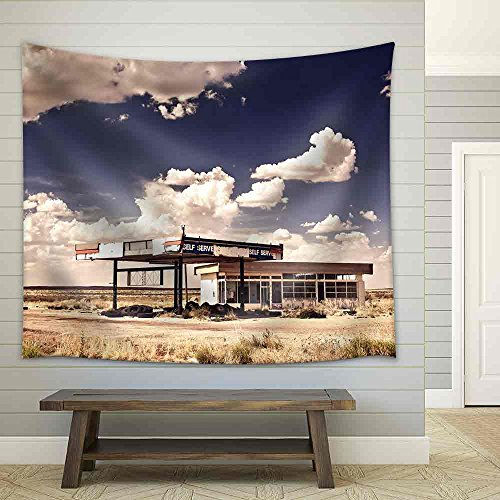 wall26 - Old Gas Station in Ghost Town Along the Route 66 - Fabric Wall Tapestry Home Decor - 51x60 inches (Tapestry Route 66)