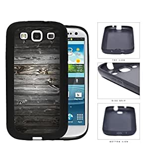 Dark Gray Wood Boards of Wood Pattern Rubber Silicone TPU Cell Phone Case Samsung Galaxy S3 SIII I9300