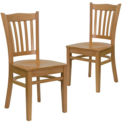 Natural 0.625' (Flash Furniture 2 Pk. HERCULES Series Vertical Slat Back Natural Wood Restaurant Chair)