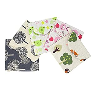 Honbay 5PCS Cute Cartoon Sanitary Napkin Cotton Bag Case Pouch Storage Organizer for Women and Girls