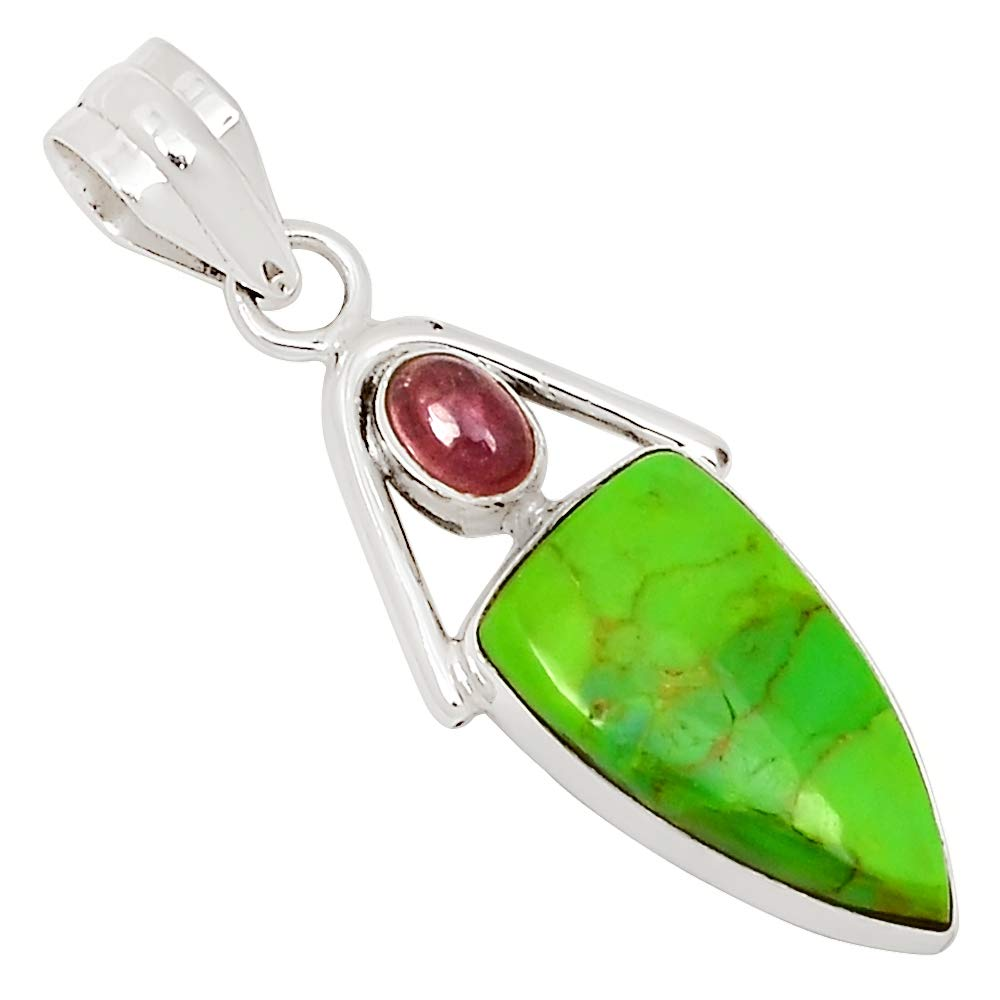 Xtremegems Mohave Green Turquoise /& Tourmaline 925 Silver Pendant Jewelry 1 5//8 25872P