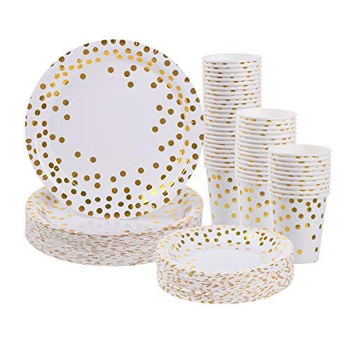 (Gold Dot Disposable Paper Plates and Cups Set for 50 - Disposable Cups, Dinner Plates and Dessert Plates - Bridal Shower, Baby Shower, Wedding, Anniversary, New Year Birthday Party Supplies - 150pcs )