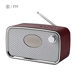Bluetooth Speaker,Wireless Bluetooth 4.2 Speakers Portable FM Radio Alarm Clock with Superior Stereo Sound, Exclusive Bass, Microphone,TF Card AUX USB Music Player