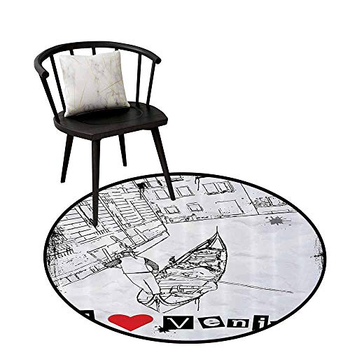 Absorbent Round Rug Grunge Home Decor Easy to Clean Gondola Silhouette On Venetian Canal with I Love Venice Frame Illustration Red Black White D16(40cm) ()