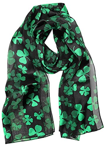 S-1000-SP-06 Satin St. Patrick's Day Scarf - Black, St Patrick's Day clothing, holiday, style, Irish, fashion