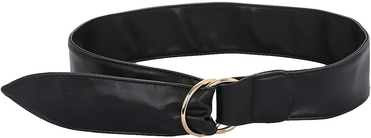 KYEYGWO Damen Kleid Gürtel 6cm Breit, Verstellbarer PU-Leder Gürtel mit Doppel Ringe Metallschnalle #1-schwarz(105cm Lange)