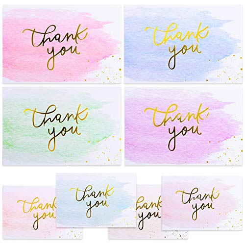 Nest Designs Gold And Watercolor Thank You Cards for Thank You Notes! Bulk Set of 48 Blank Cards with Envelopes for Baby Shower Note Cards, Wedding Thank You Cards and Bridal Shower Thankyou Card