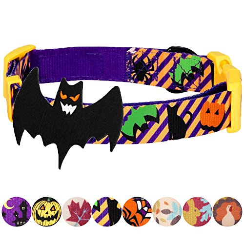 Blueberry Pet 8 Patterns Halloween Madness Party Classic Designer Dog Collar with Decoration, Small, Neck 12