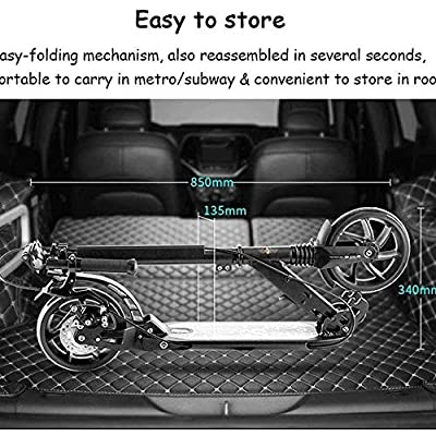 TRPYA Scooter,Portable Folding Commuting Scooter for Adults with Double Braking System,Display Screen Modes Inches Solid Rear : Sports & Outdoors