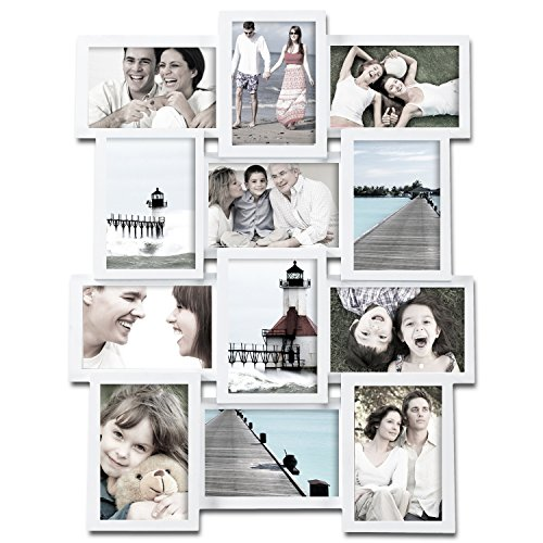 (Deco De Ville 12 Opening Contemporary Urban Design Style Wood Decorative Puzzle Collage Picture Photo Frame, Horizontal or Vertical Wall Hanging, 4x6, White)