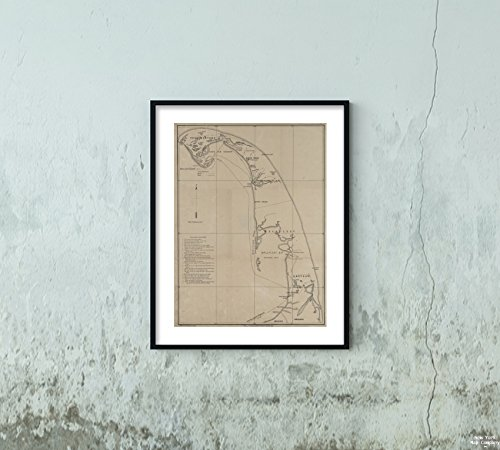 1865 Map Boston, Mass. Map Eastern Cape Cod, Massachusett Trochsler, A. (Albert) (Lithographer)|Vintage Fine Art Reproduction|Ready to Frame ()