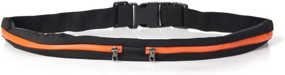 110/×5/×1cm Kentop Belt Bum Bag Waist Bag with 2/Water Resistant Zip Compartments For Jogging Running Sport Fitness Gym Black