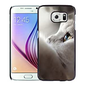 NEW Unique Custom Designed Samsung Galaxy S6 Phone Case With White Cat Looking Up_Black Phone Case
