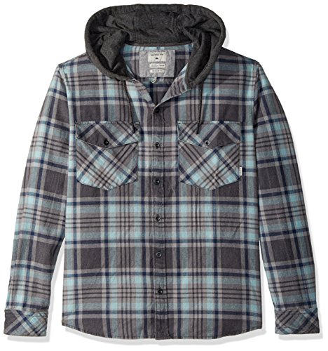 Quiksilver Men's Hooded Tang Flannel Shirt, Blue Light Hooded, L - North Light Oxford