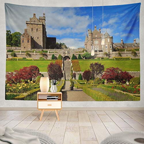 KJONG Castle Castle Century Scotland UK September Castle Autumn Scotland Beautiful Decorative Tapestry,60X80 Inches Wall Hanging Tapestry for Bedroom Living Room