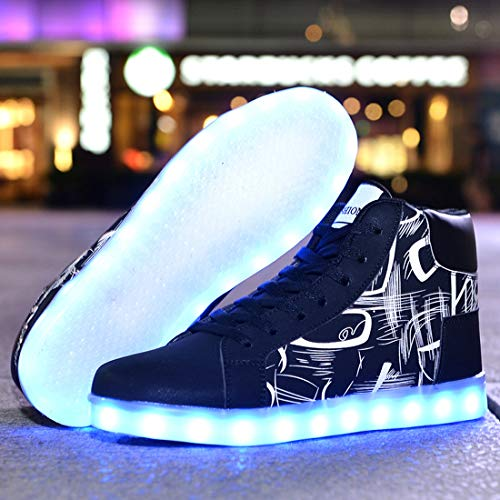 Running with Led Fashion amp;white Night Colorful SEVENWELL Shoes High Light Women Black Up Pu Printing Sneakers Men Top qPgwq6