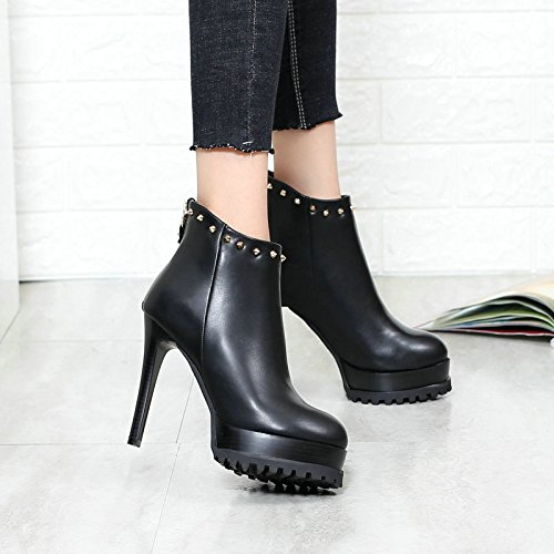 KHSKX-New Round Of Fine With The Boots High Heeled Boots Temperament After Martin Zipper Rivet Thirty-eight
