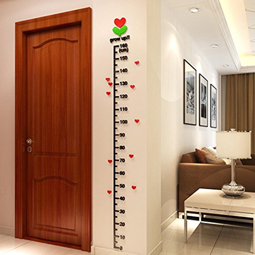 Transer Kid Room Deco Height Ruler Measure Chart Growth Chart DIY 3D Acrylic Crystal Wall Stickers (Black)