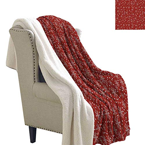 Berber Fleece Blanket Geometric,Festive Winter Season Holiday Themed Vibrant Background Snowflakes with Polka Dot,Ruby White Sofa,Soft Cozy 60x47 Inch