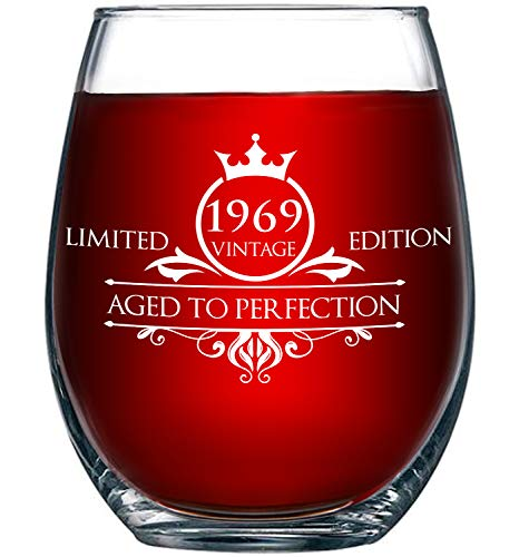 1969 50th Birthday Gifts for Women and Men Wine Glass - Funny Vintage Aged To Perfection - Anniversary Gift Ideas for Mom Dad Husband Wife – 50 Year Old Party -