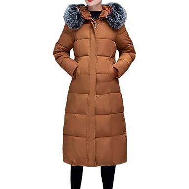 Yvelands Mujeres Abrigo Cálido de Invierno Piel Sintética con Capucha Gruesa Cálida Chaqueta Delgada Largo Abrigo