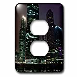 3dRose Alexis Photography - Moscow City - International business center Moscow City at misty night - Light Switch Covers - 2 plug outlet cover (lsp_264226_6)