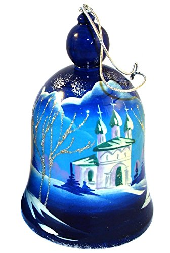 Big Hand-painted Vintage Wooden Bell - Russian Landscape with Russian Churches - Decorative Ornament - Each item Unique – 1 pc - Summer or Winter - 4