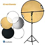 LimoStudio Swivel Head Reflector Support Holder Arm, Boom Stand Arm Bar, Light Stand Tripod with 43 Inch Diameter 5 Color in 1 Round Collapsible Reflector Disc Panel, Hand Held, AGG2087V2