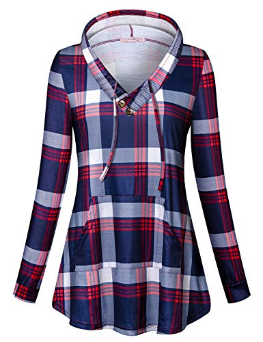 Tanst Red Hoodies for Women Ladies Round Neck Casual Pullover Cotton Plaid Blouse Work Sweaters Checkered Office Wear Flowy Long Sleeve Loose Fit Sweater Christmas 3XL
